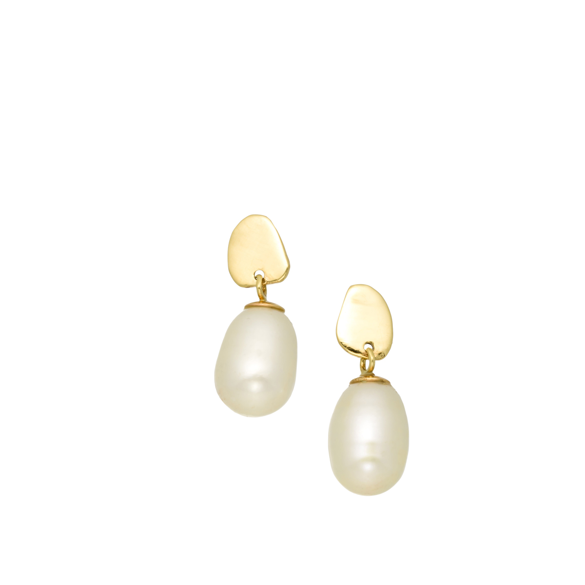 Gold dongle pearl earrings