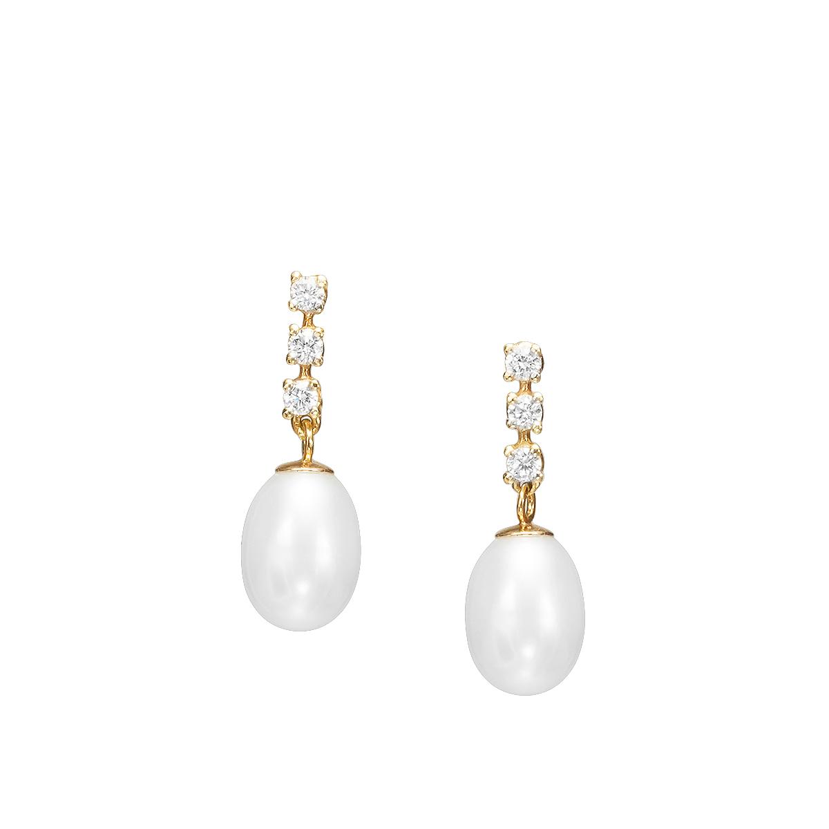 Pearl and diamonds earring