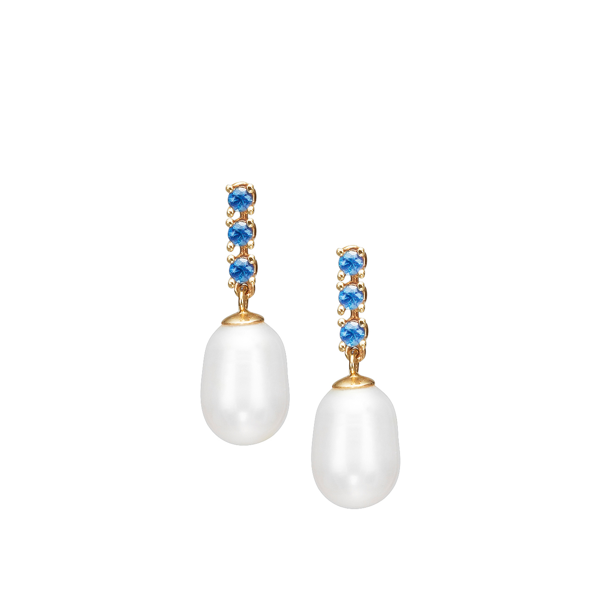Sapphire and pearl gold earrings