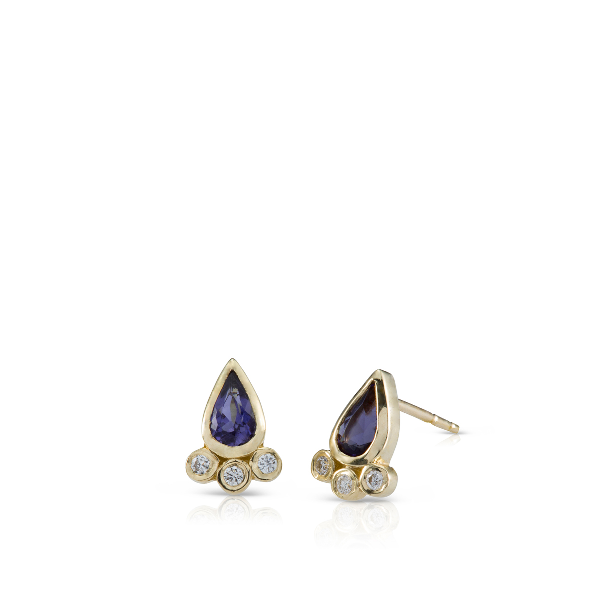 Drop Shapes Iolite and diamond earrings