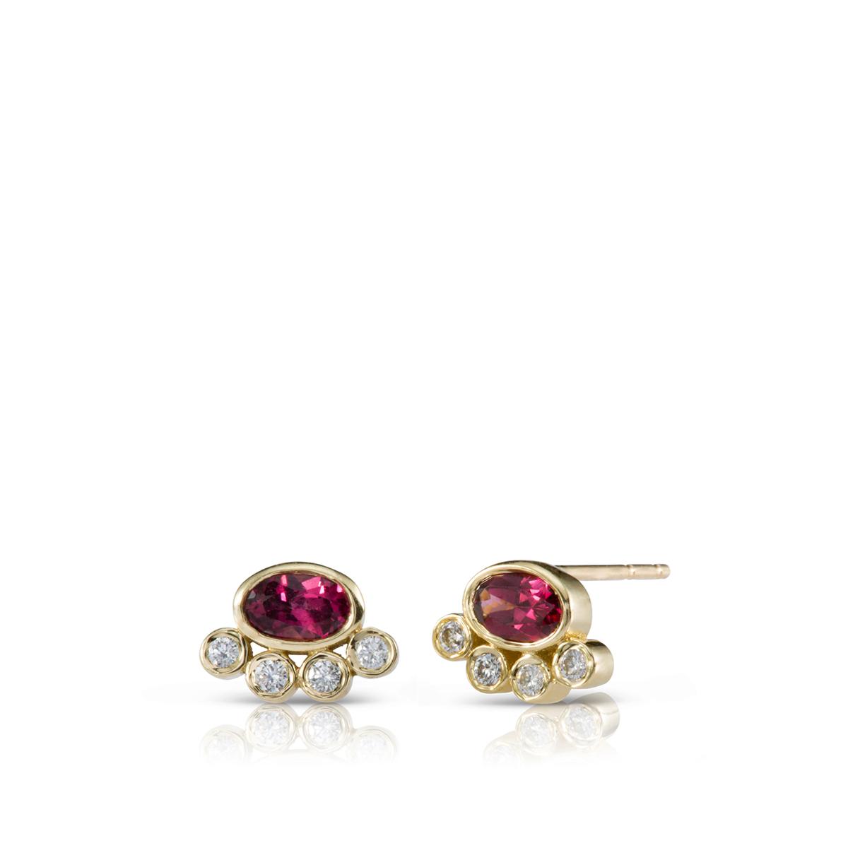 Rodulite and diamond stud earrings
