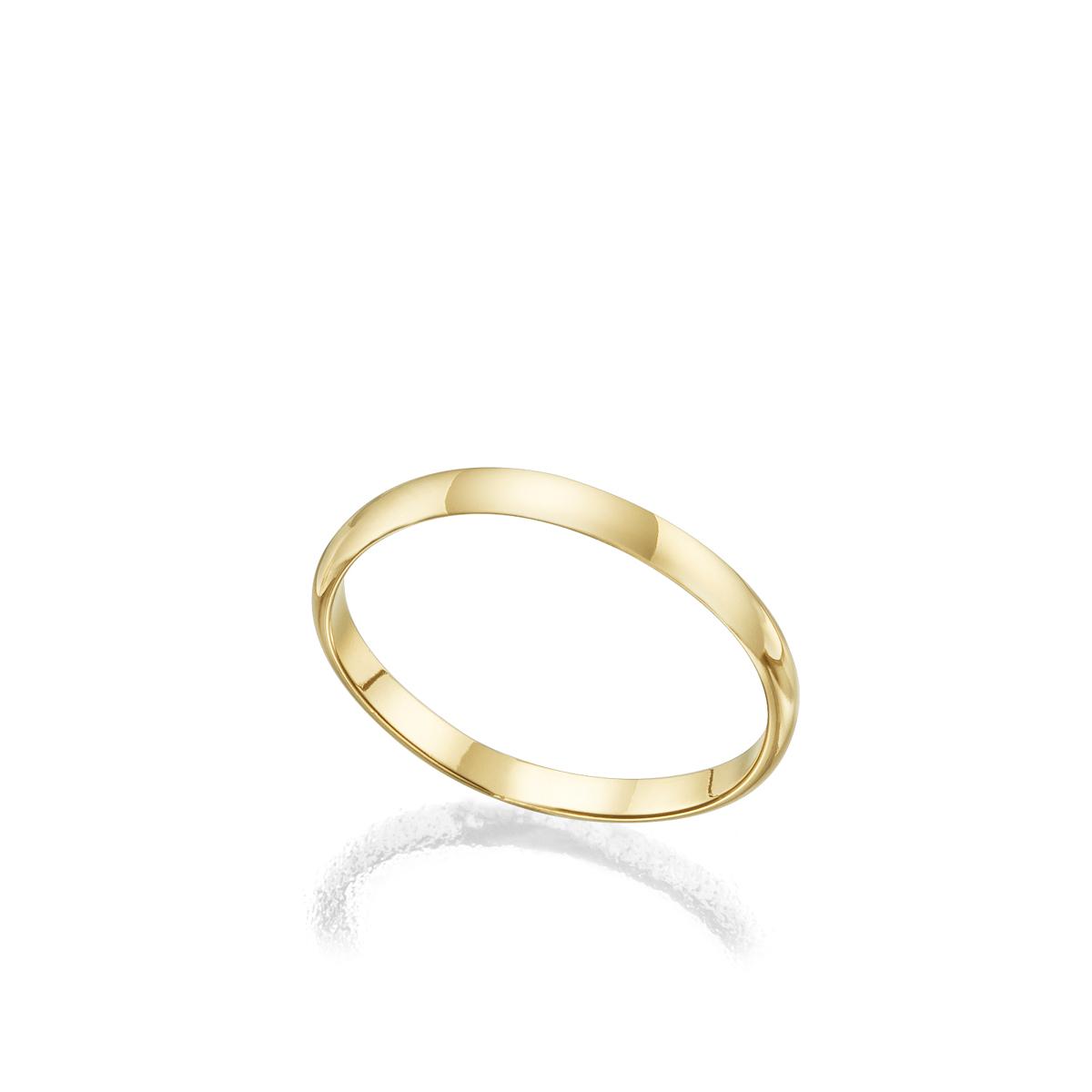 2 mm wide semicircular profile gold ring