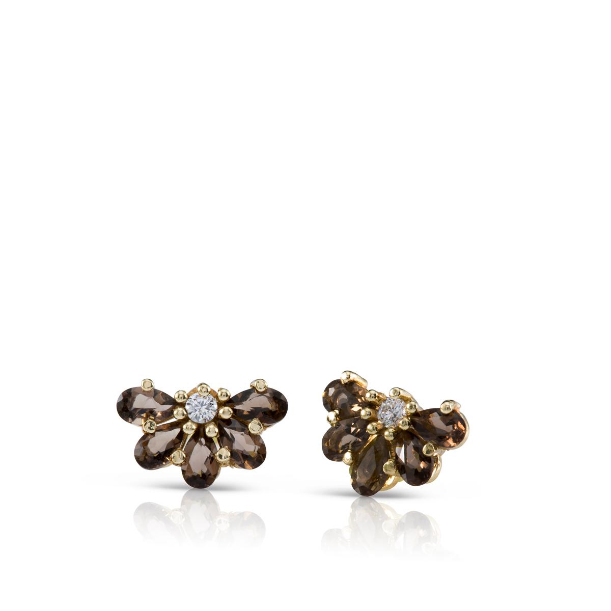 Diamonds and Smoky Quartz gold earrings