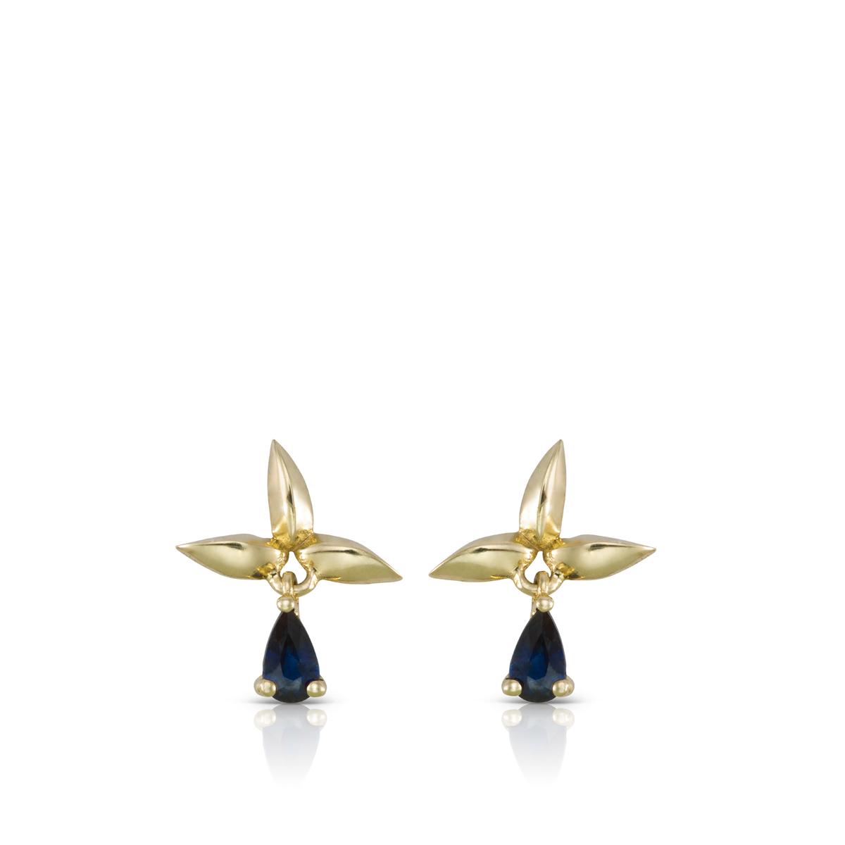 Small dangle drop sahped sapphire earrings