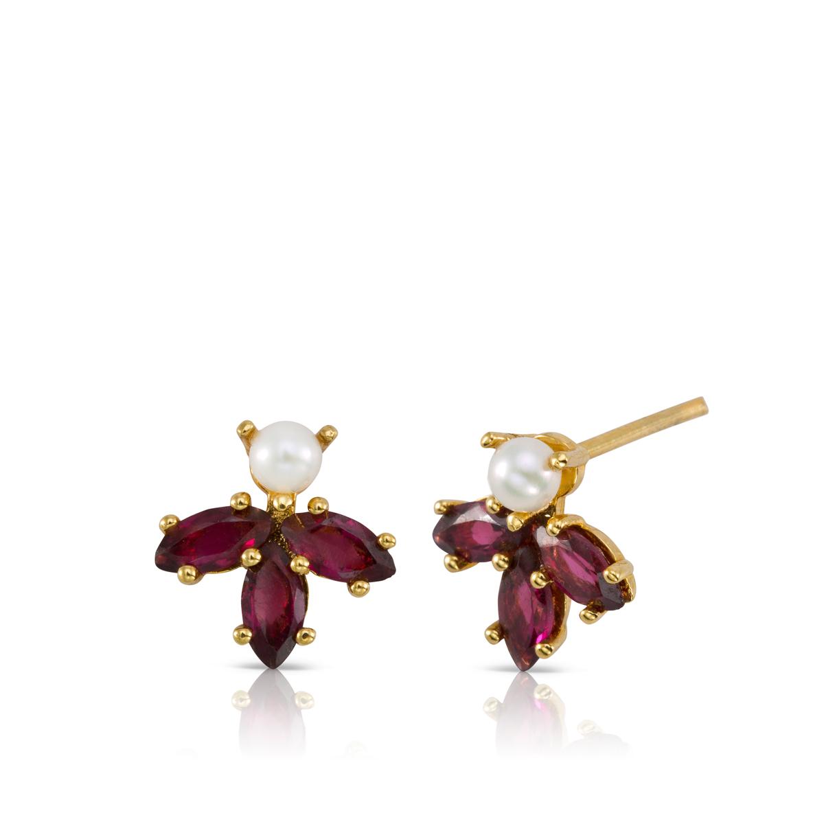 Stud pearl and Rhodolite earrings