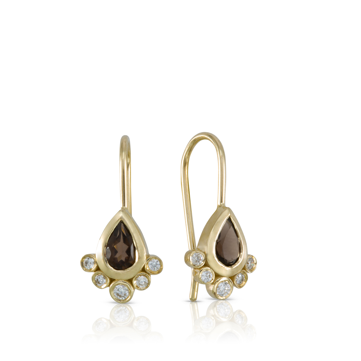 Dungle smoky quartz and diamonds earrings