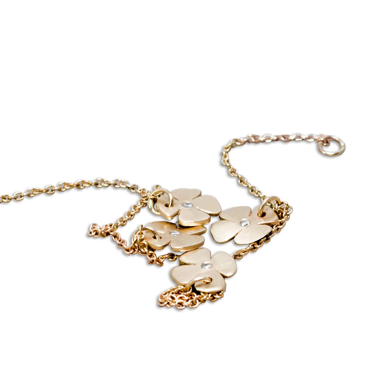 Gold Flower And Diamond Bracelet