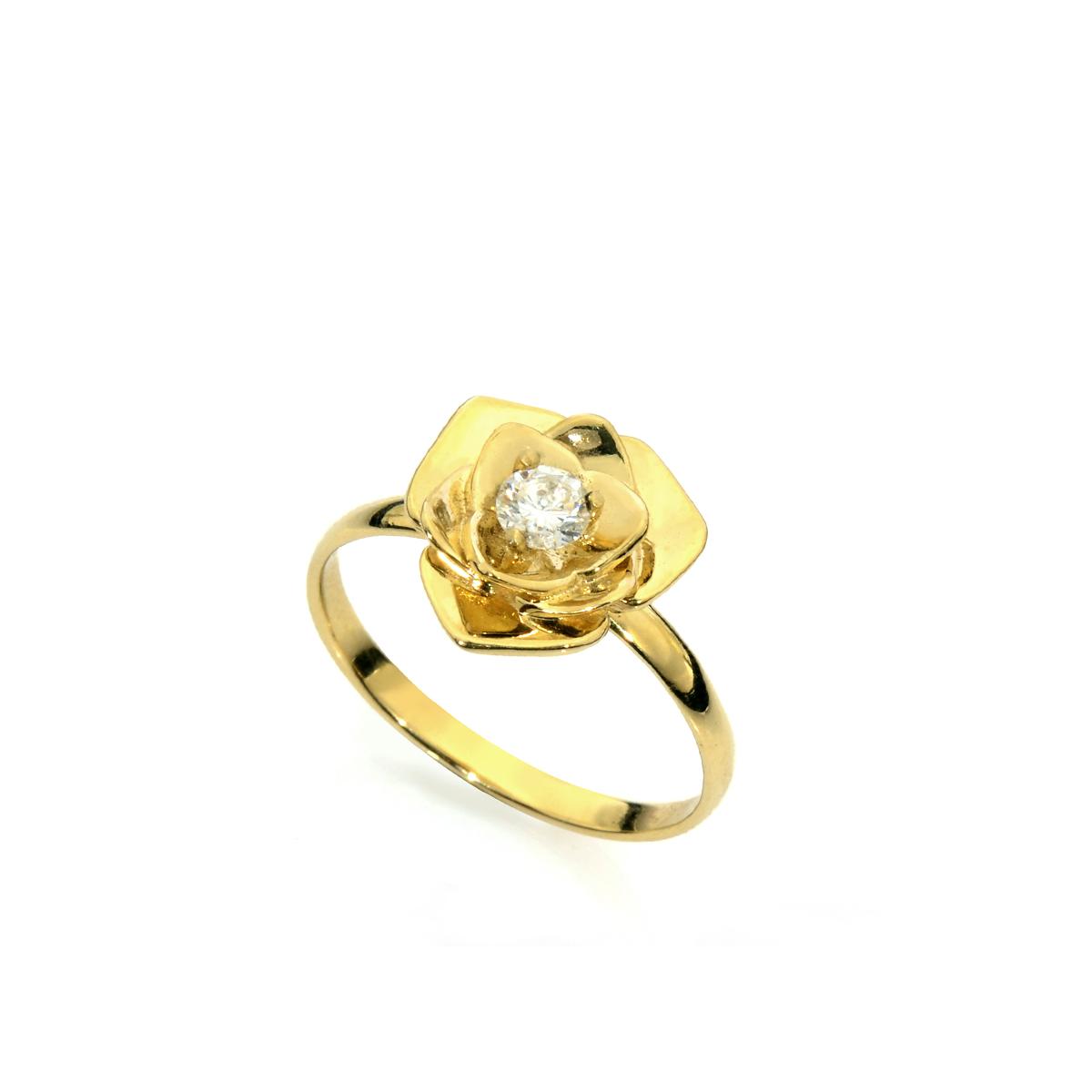 Gold rose diamond ring