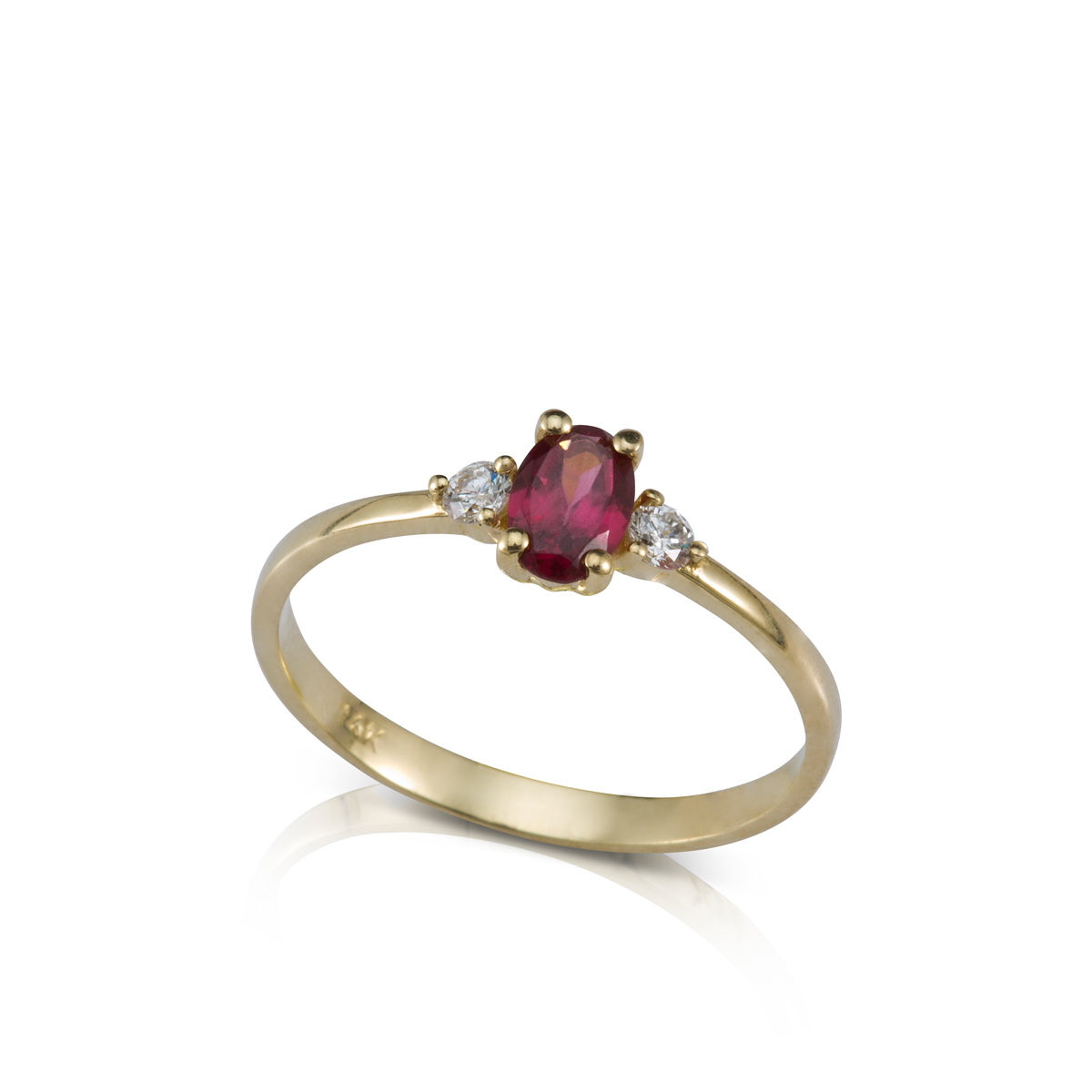 Oval shaped rhodolite engagment ring