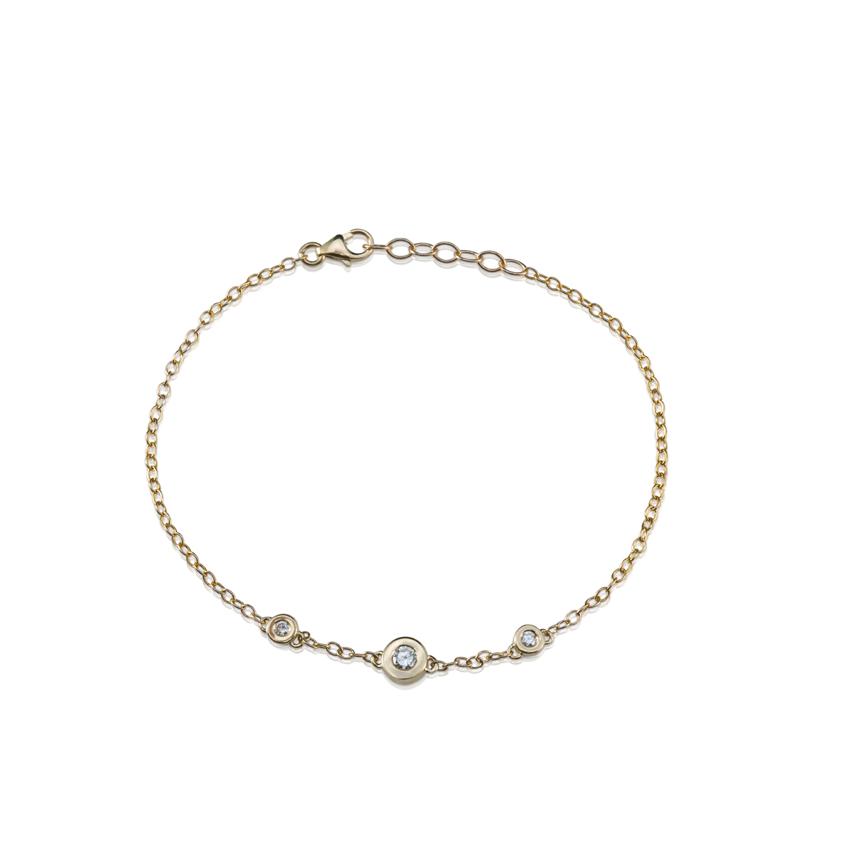 Gold 3 bezel set Diamonds bracelet