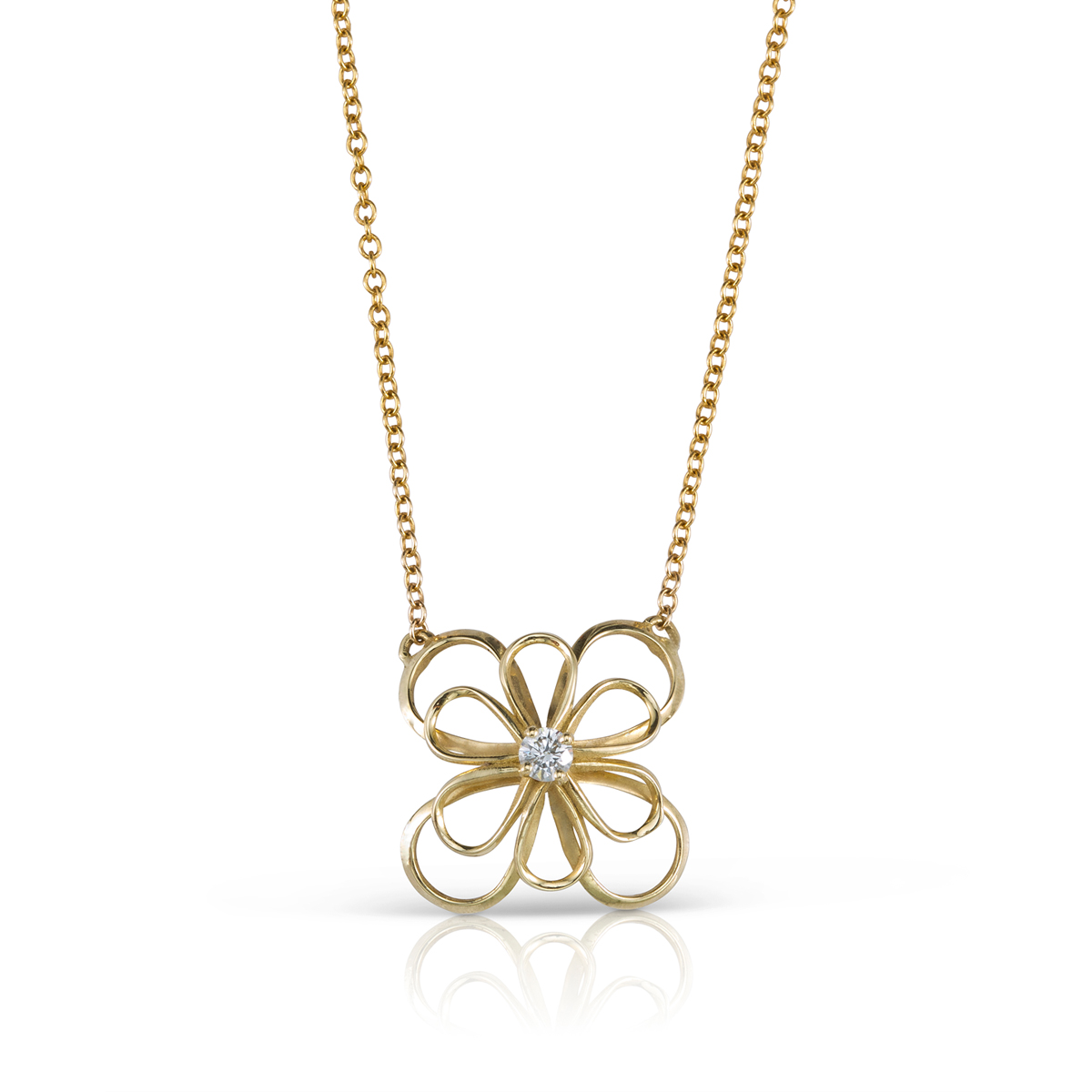 Gold flower and diamond necklace