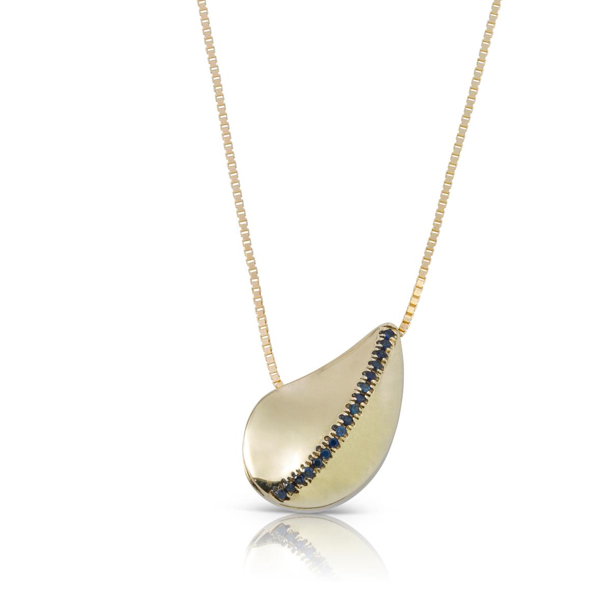 Gold and gems leaf shaped necklace