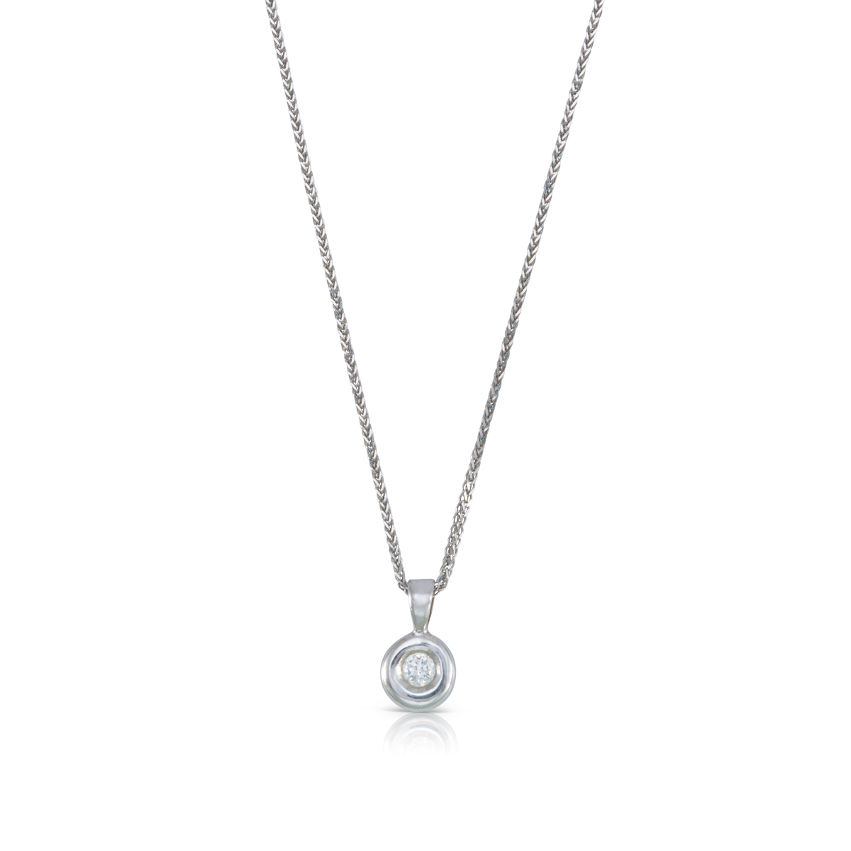 Round asymmetrical frame 0.10ct diamond pendant
