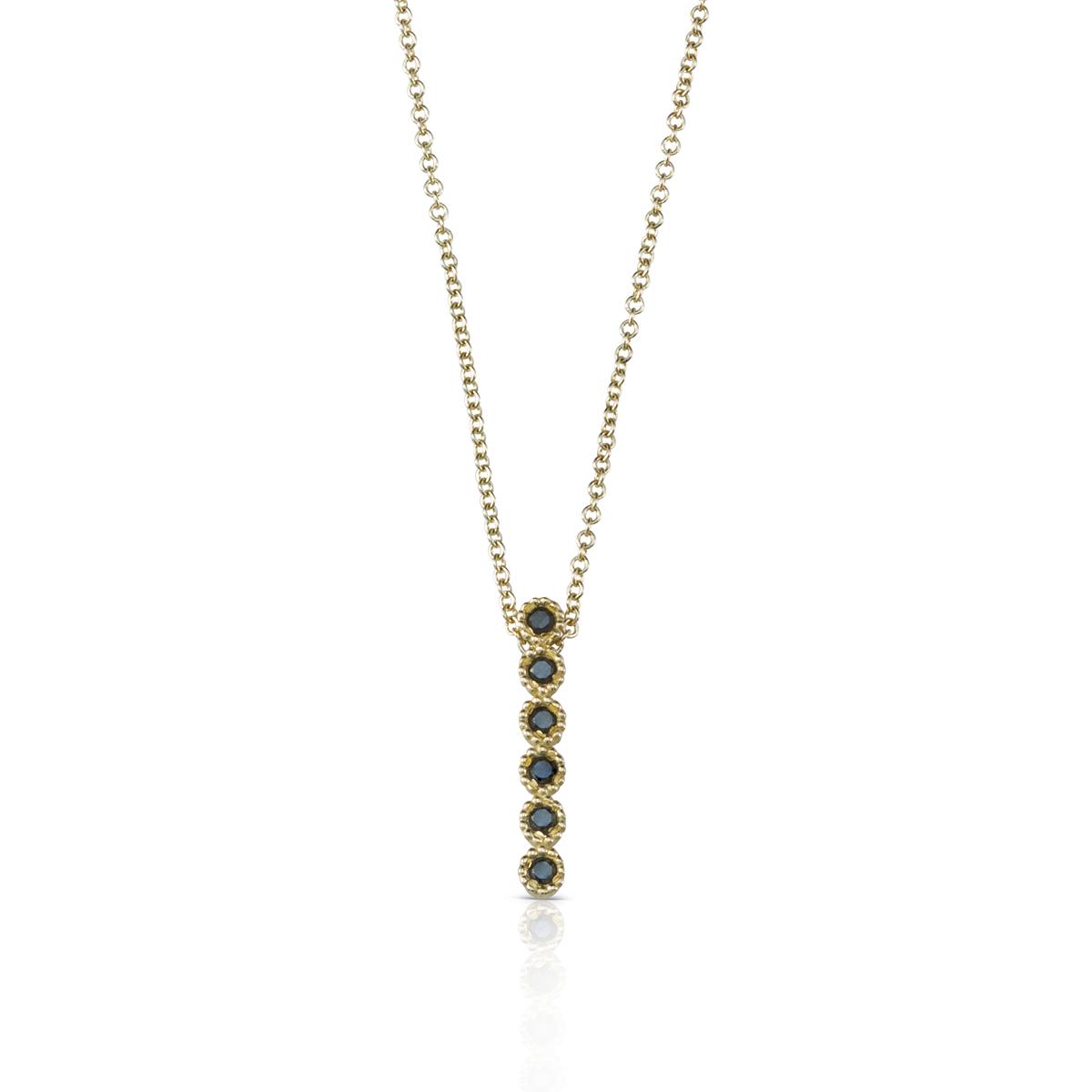 Black diamond bar gold necklace