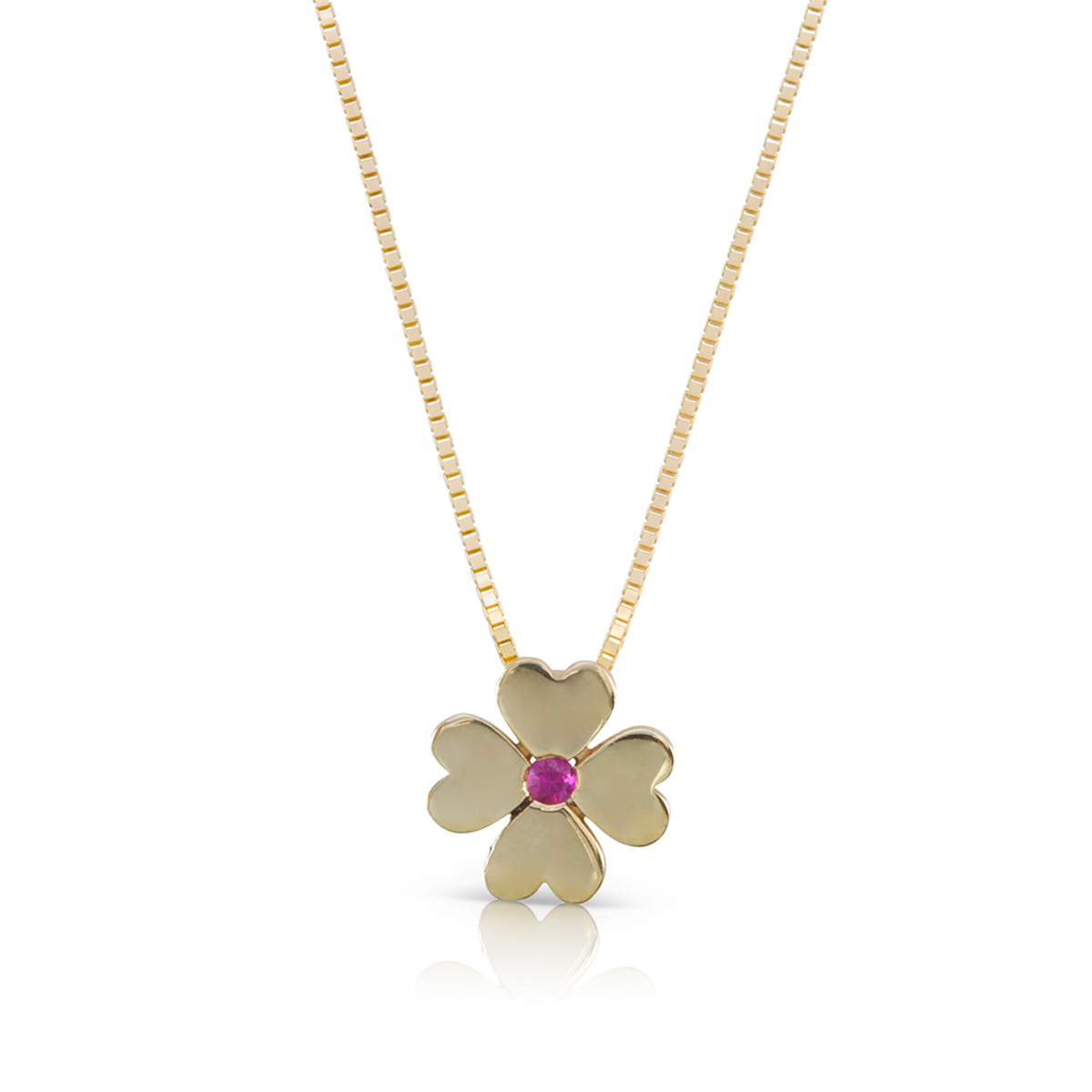 four gold hearts and ruby necklace