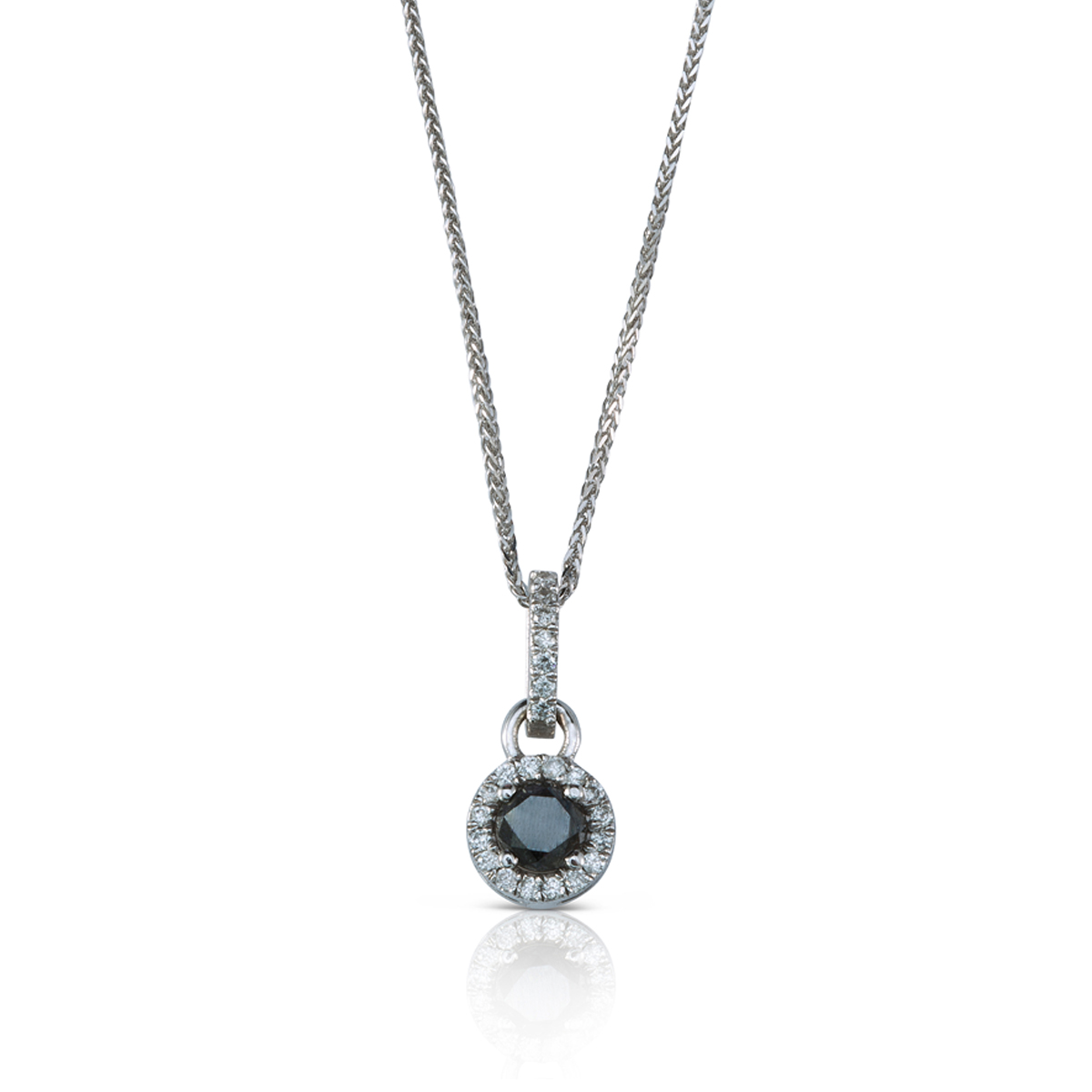 Black and white diamonds gold necklace