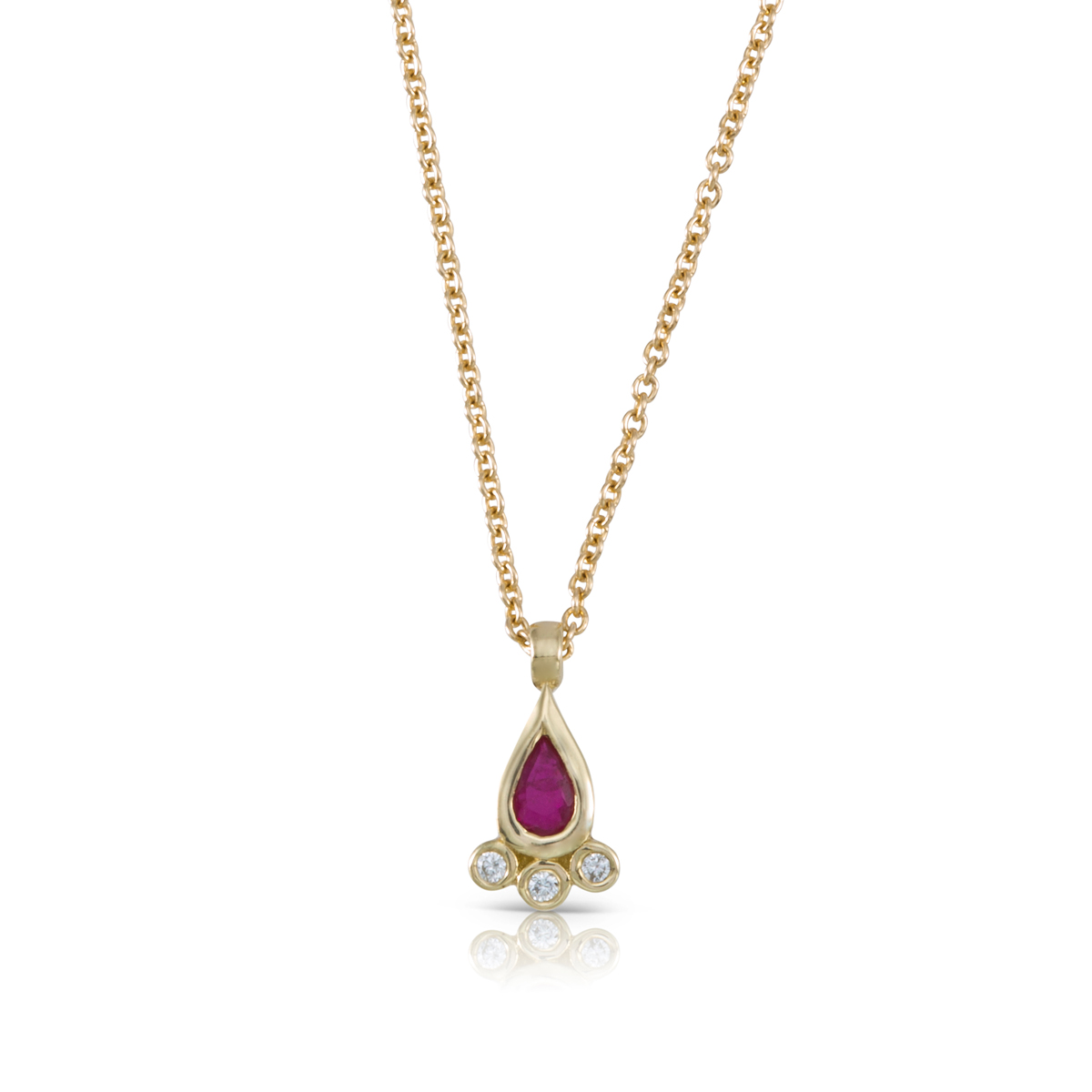 Pear shaped ruby and diamonds necklace