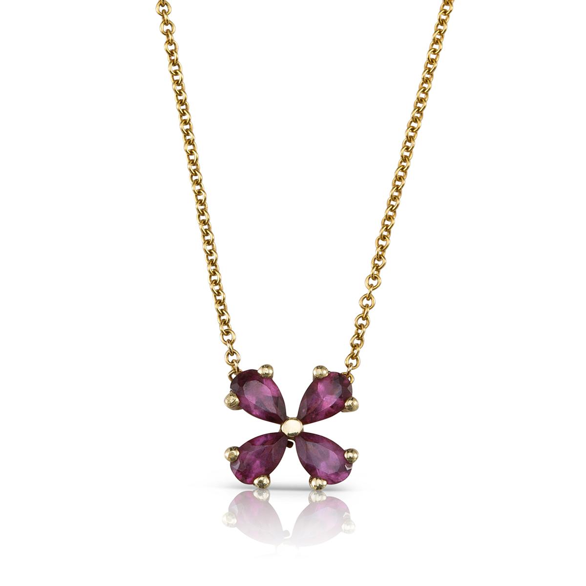 Rhodolite flower necklace