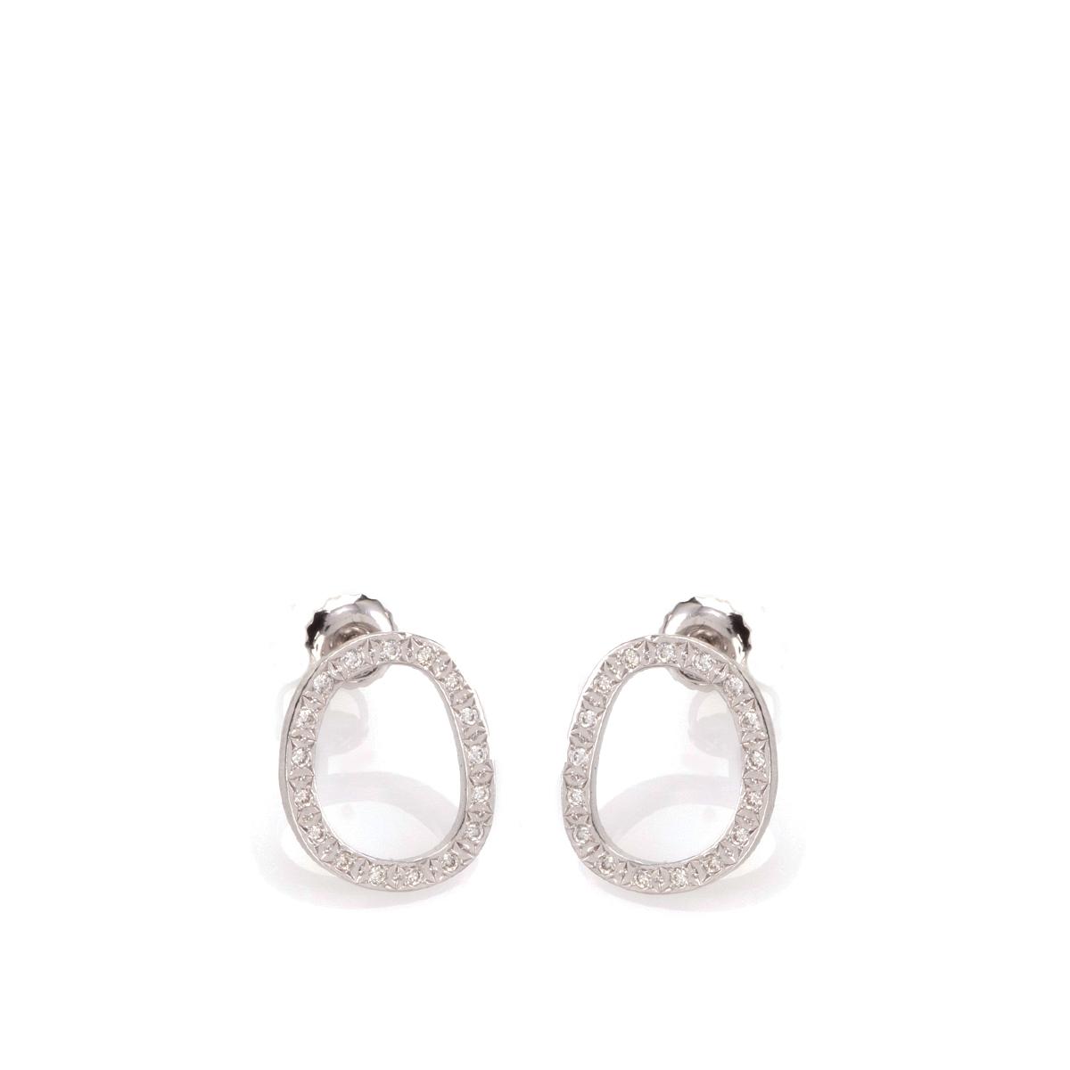 Asymmetric stud gold and Diamonds earrings