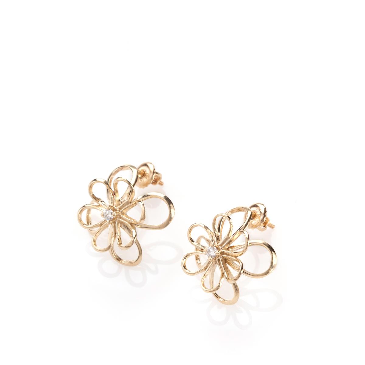 Big flower stud gold earrings