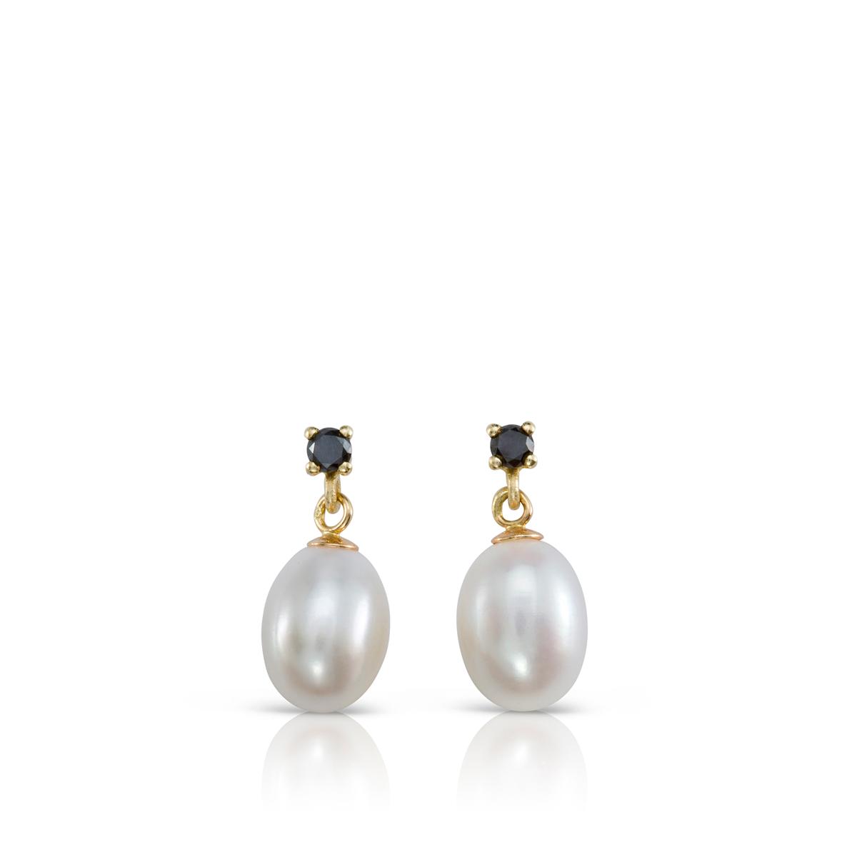 Dongle black Diamonds and pearl earrings