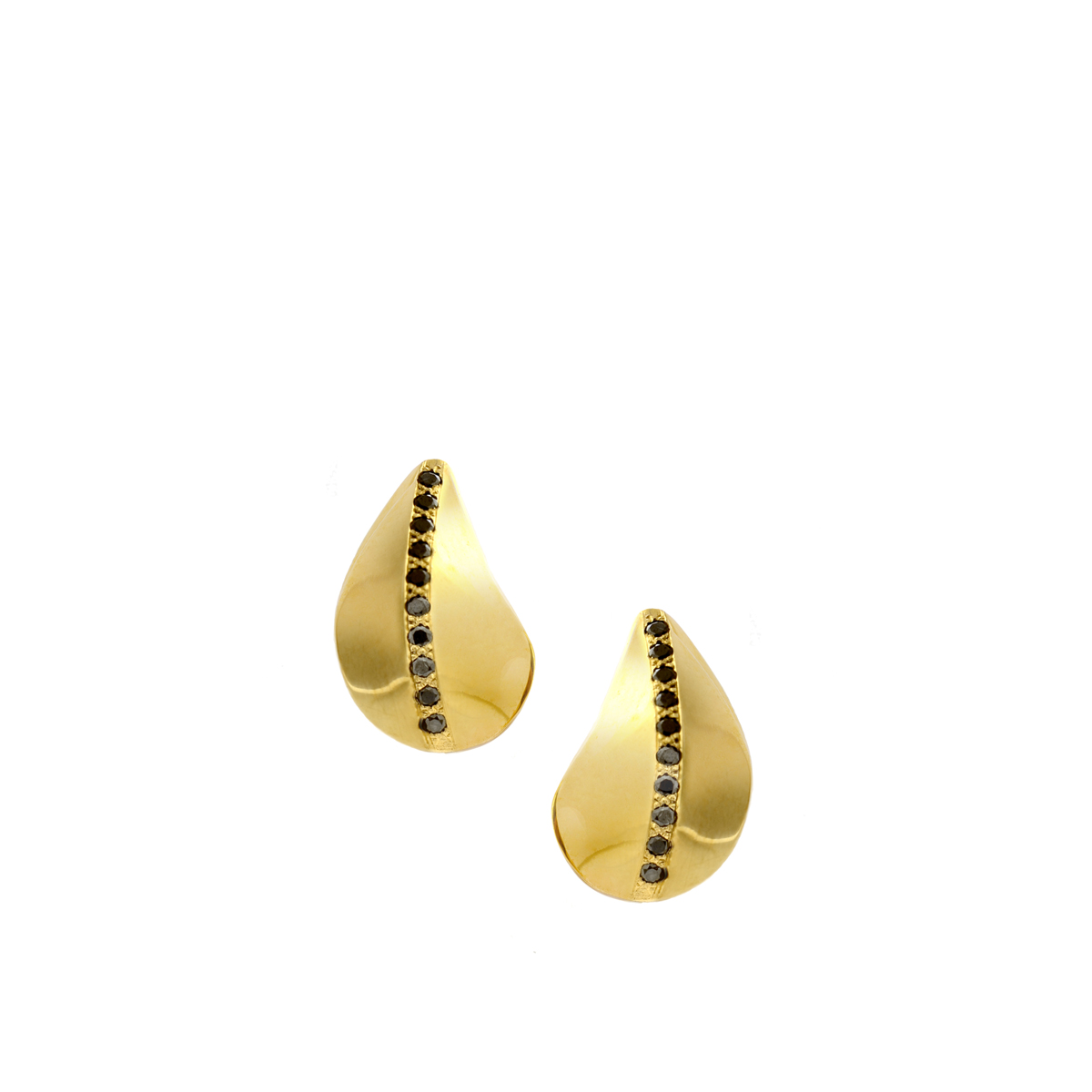 Leaves stud gold and black Daimonds earrings