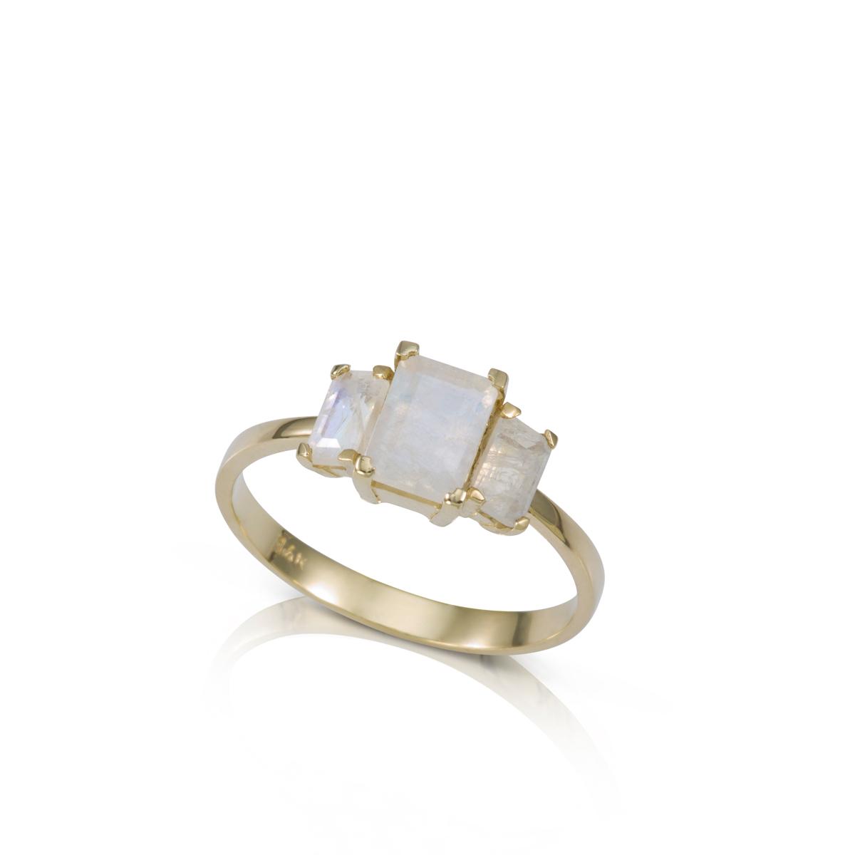 Emerald cut moonstones ring