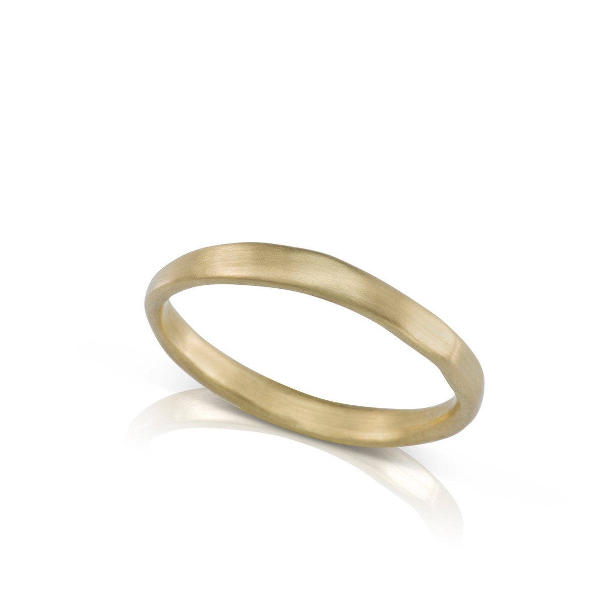Thin gold ring in an asymmetrical handmade style