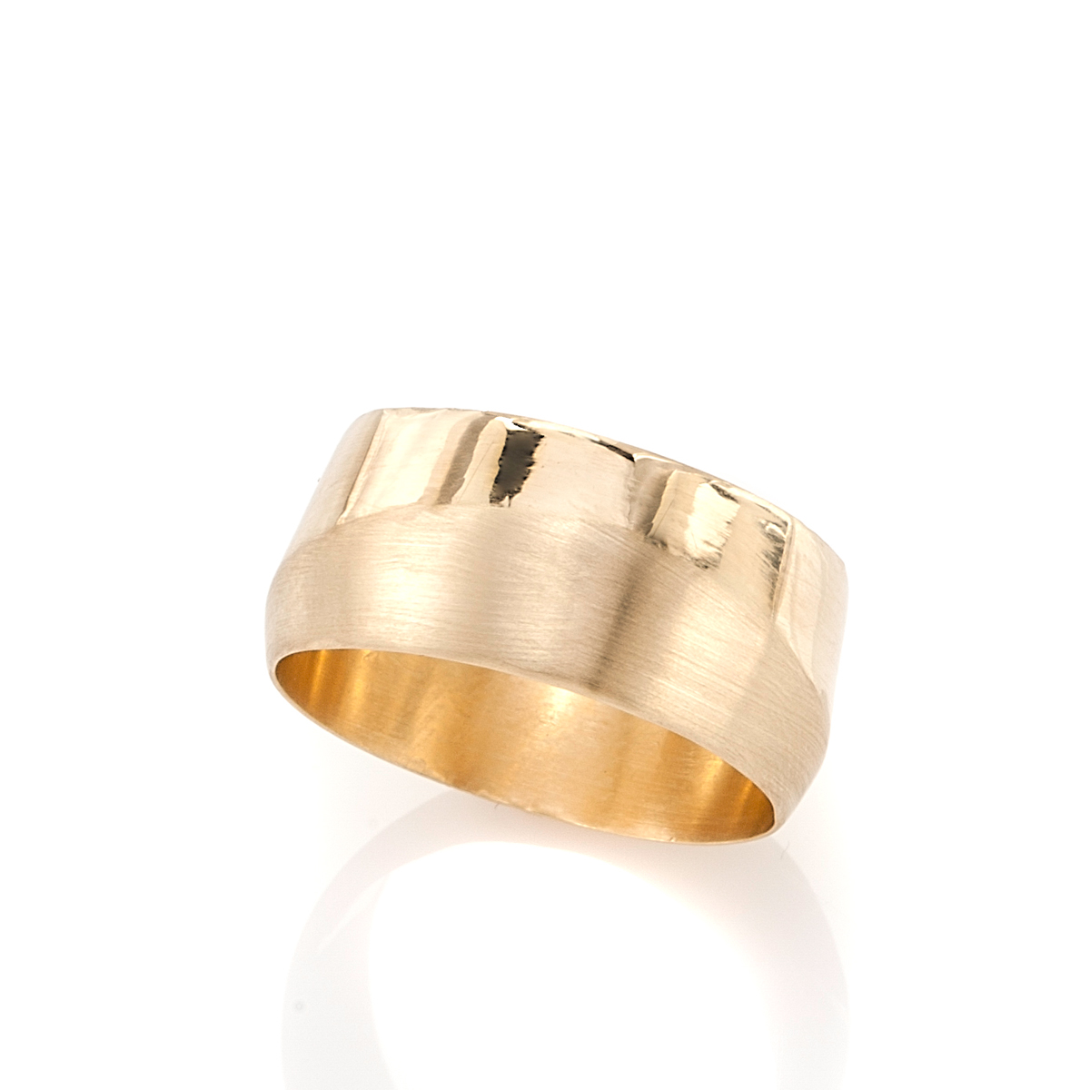 A wide gold ring
