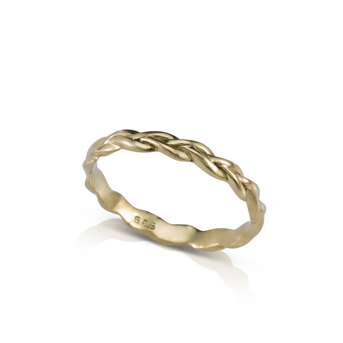 Thin Gold Braided Ring