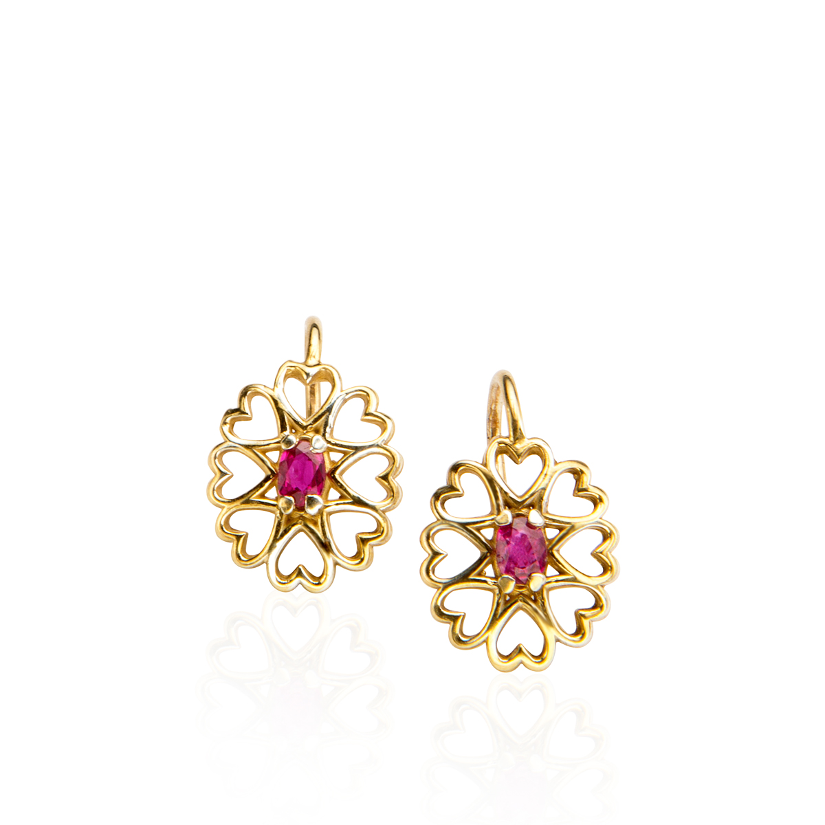 Heart shaped gold and Ruby earrings