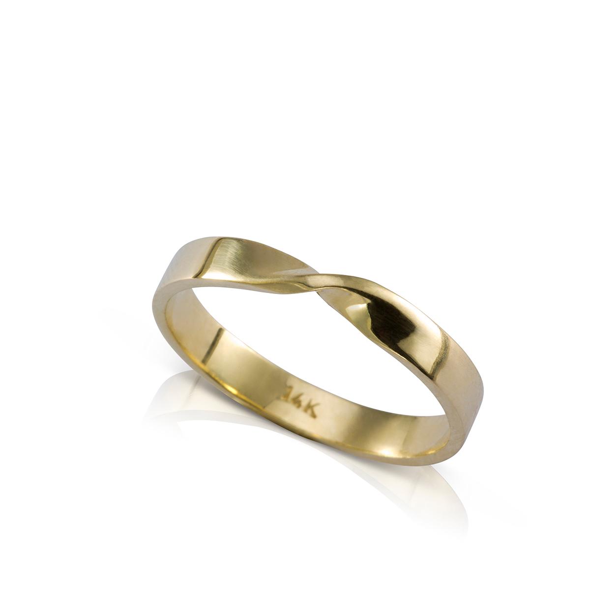 Mobius shaped gold ring.