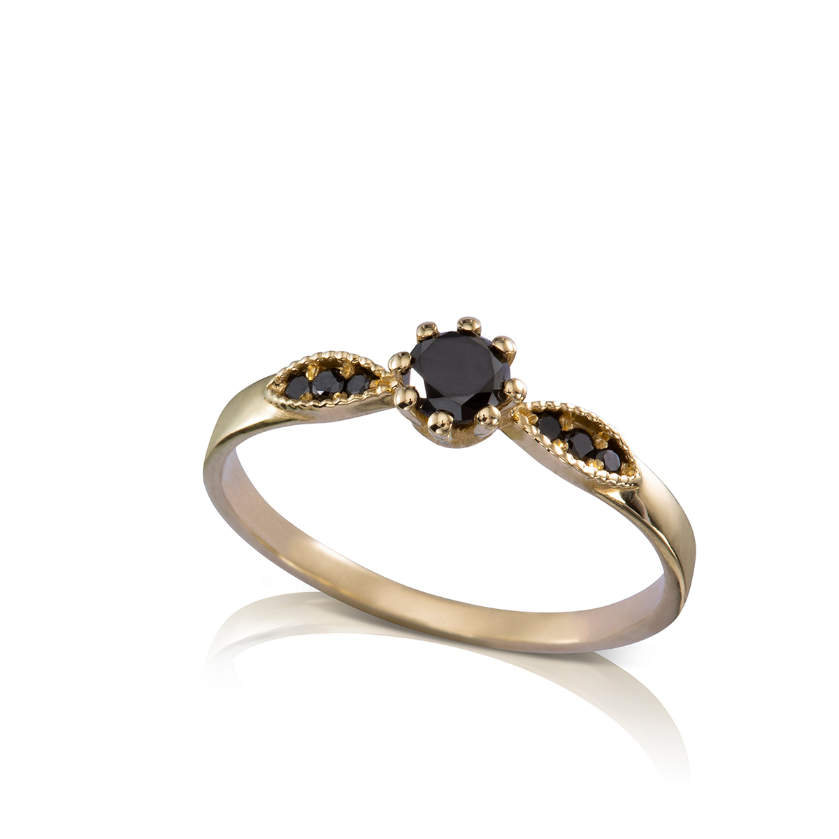 Vintage style gold and black diamond ring