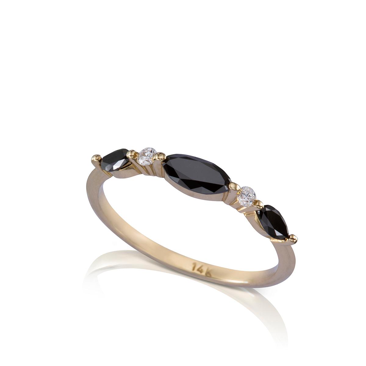 Marquise-cut black diamond  with brilliant white diamonds ring