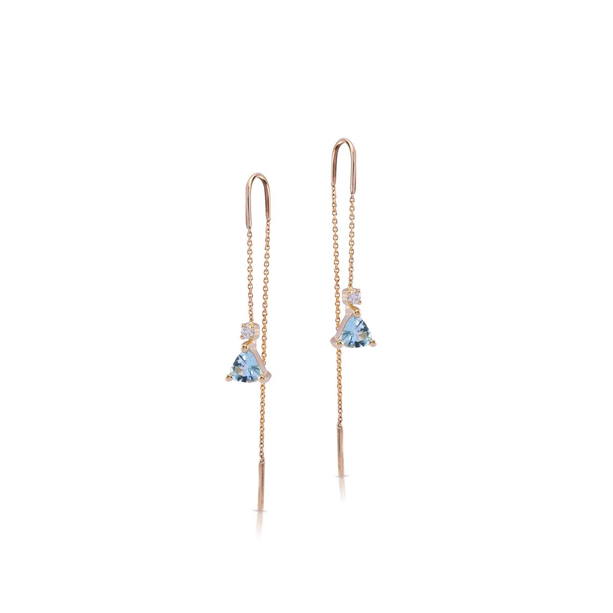 Aquamarine and diamond gold chain earrings