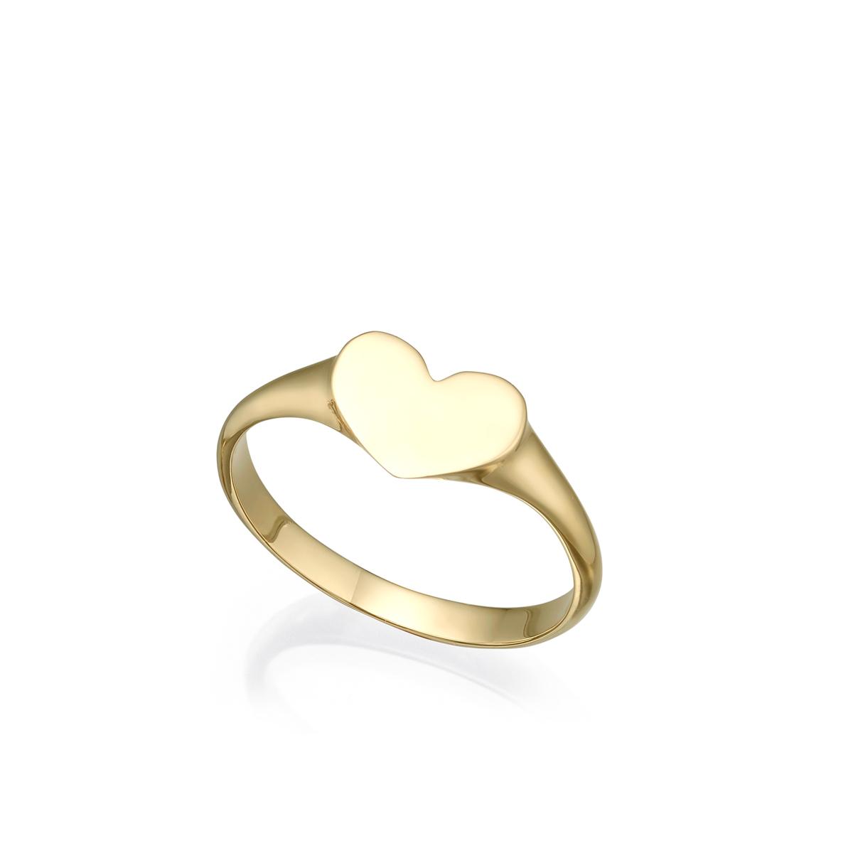 Heart signet gold ring