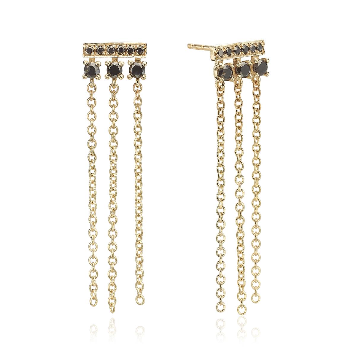 Chain black diamonds earrings