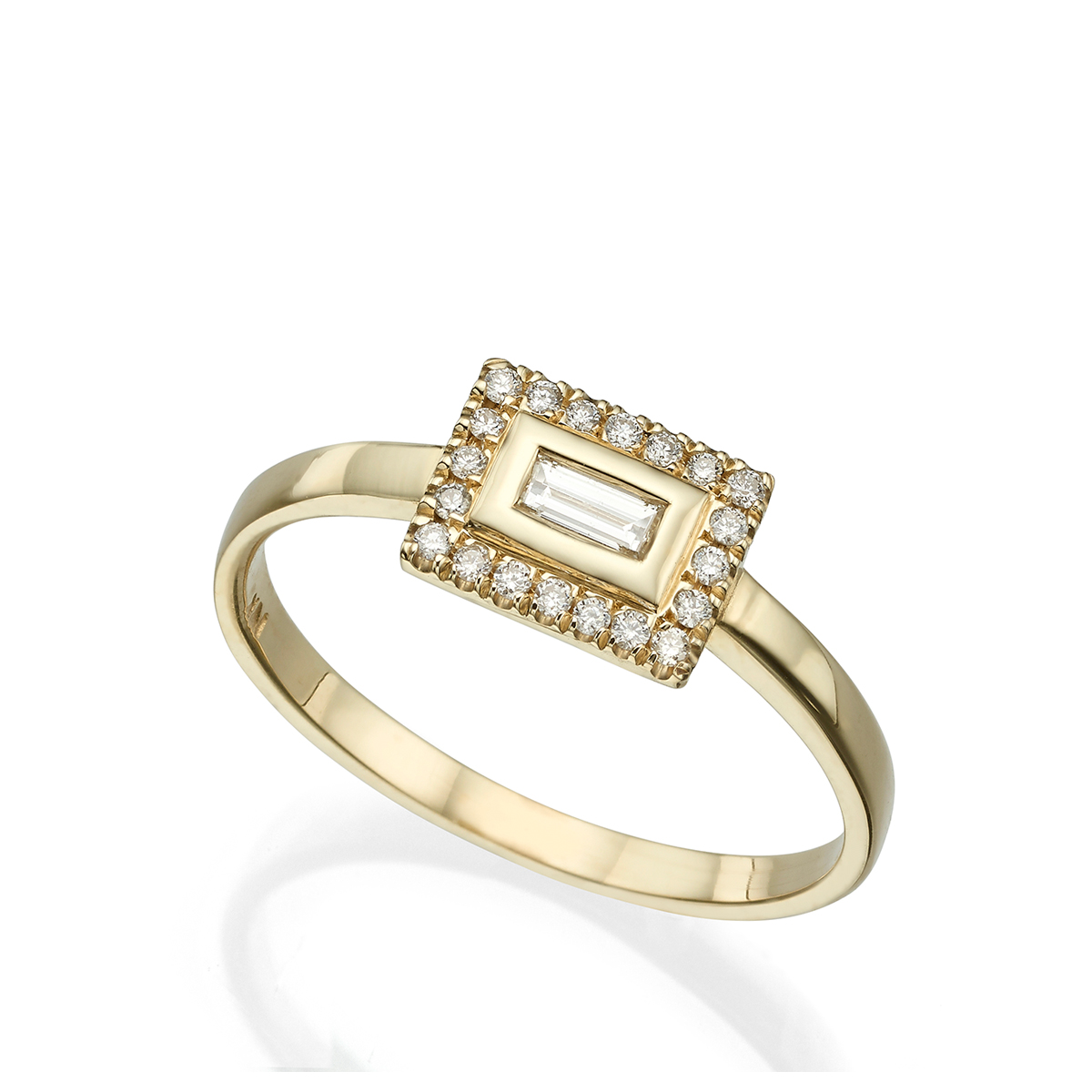 Baguette halo ring