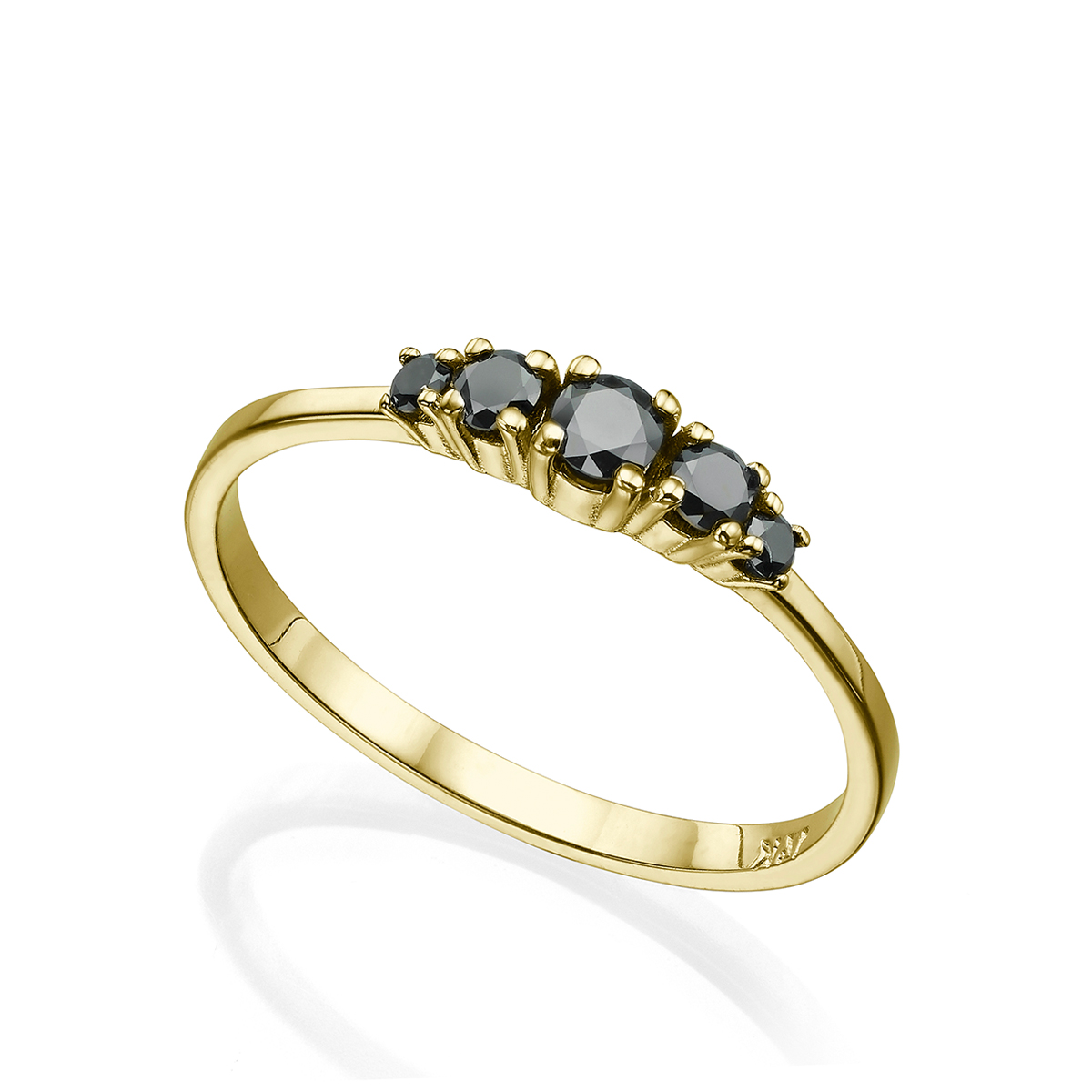 5 Black Diamonds Solid Gold Ring In a Prong Setting – 0.30ct