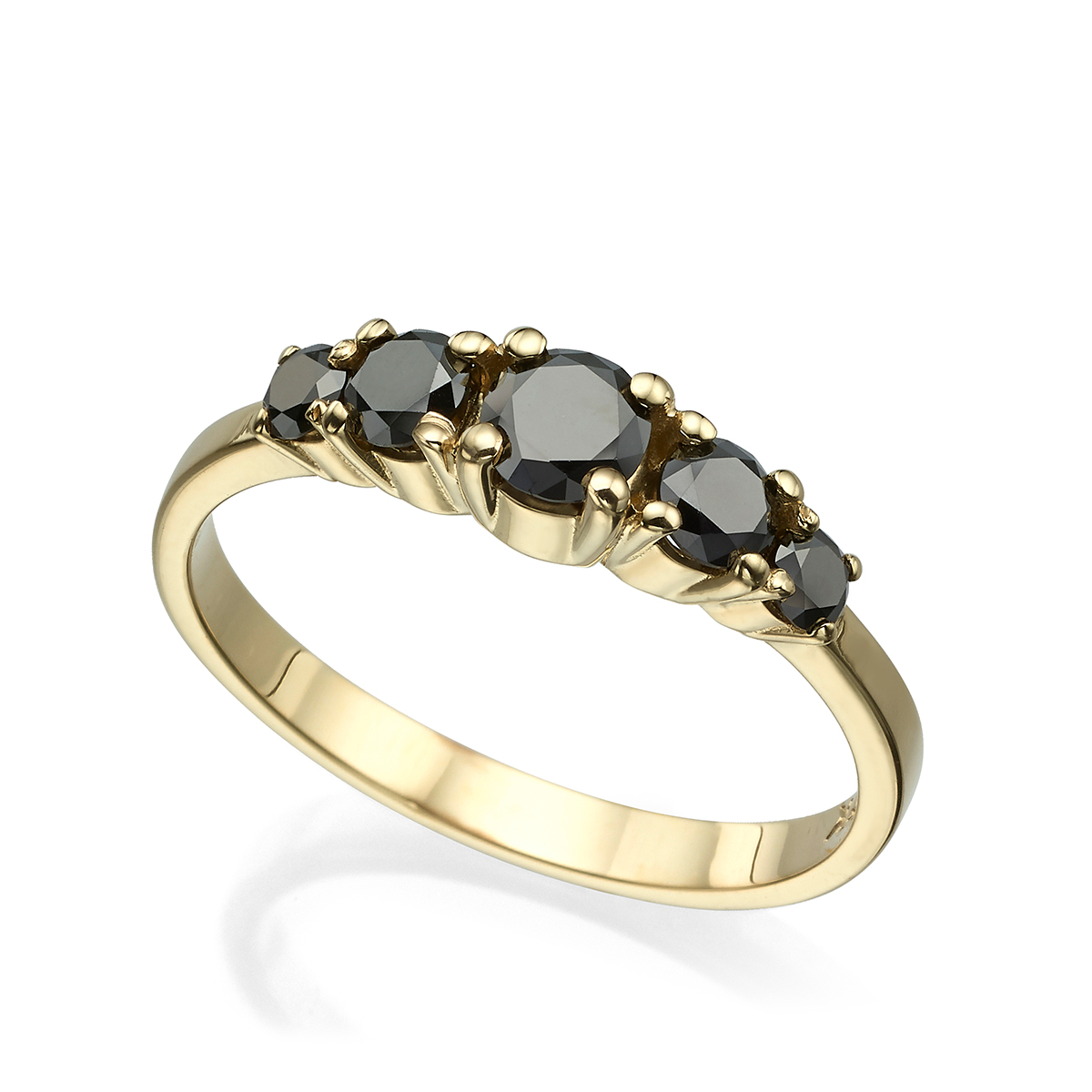 5 Black Diamonds Solid Gold Ring In A Prong Setting – 0.90ct