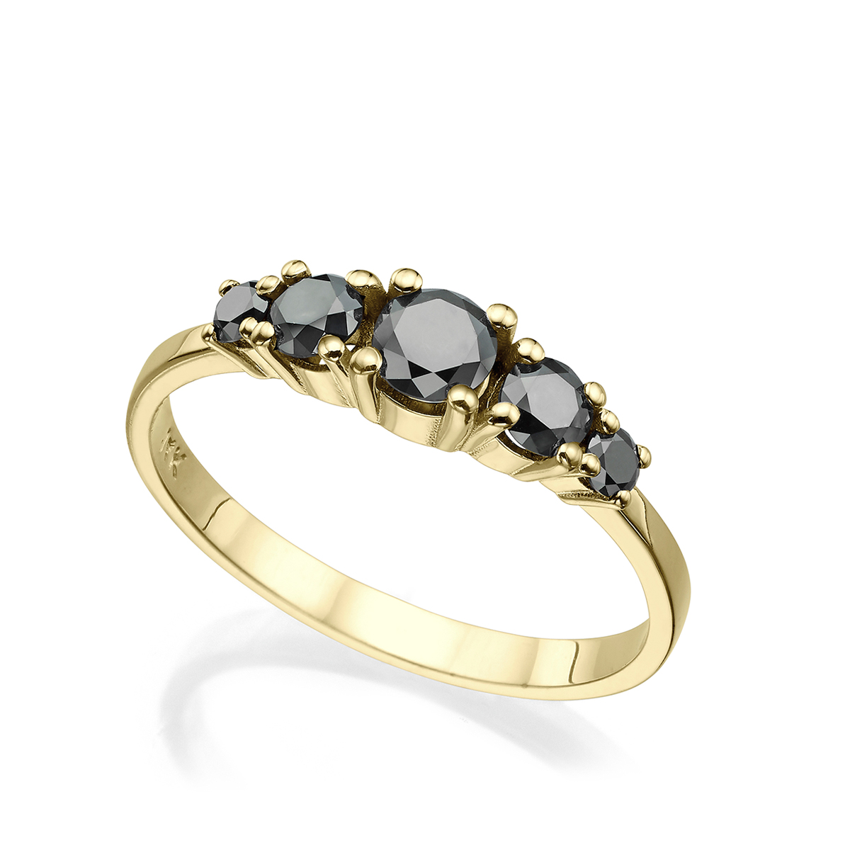 5 Black Diamonds Solid Gold Ring In A Prong Setting – 0.60ct
