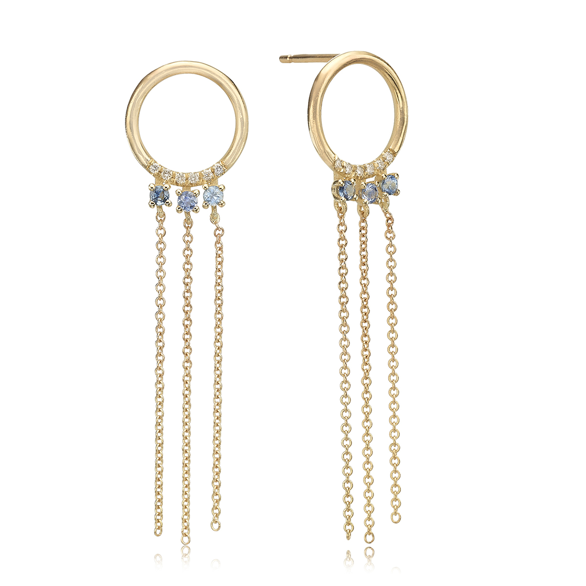 Diamons and sapphire gold chaine earrings