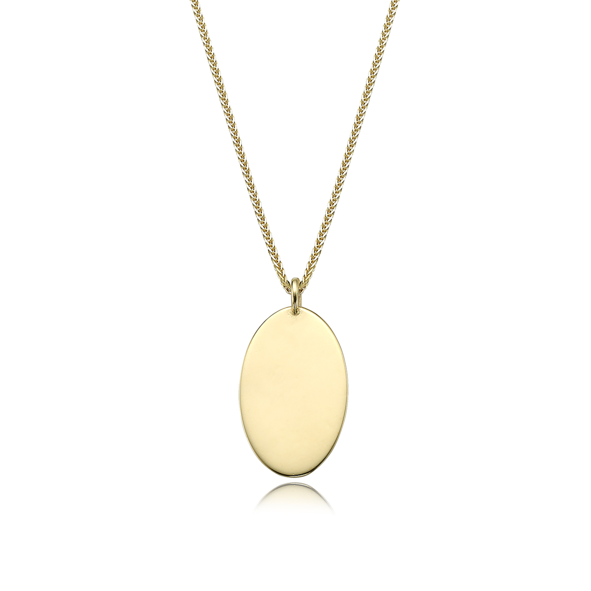 Oval gold name necklace