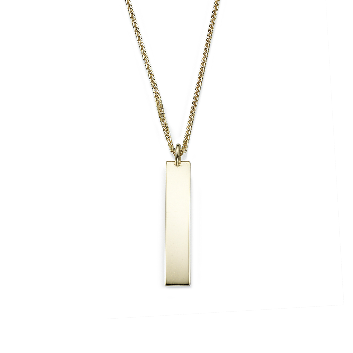 Bar solid gold name necklace