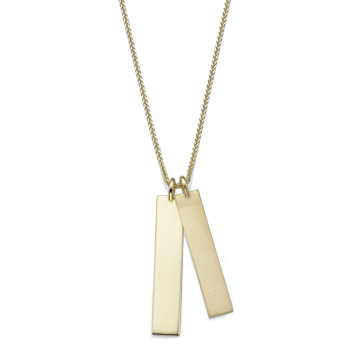 Double bars solid gold name necklace