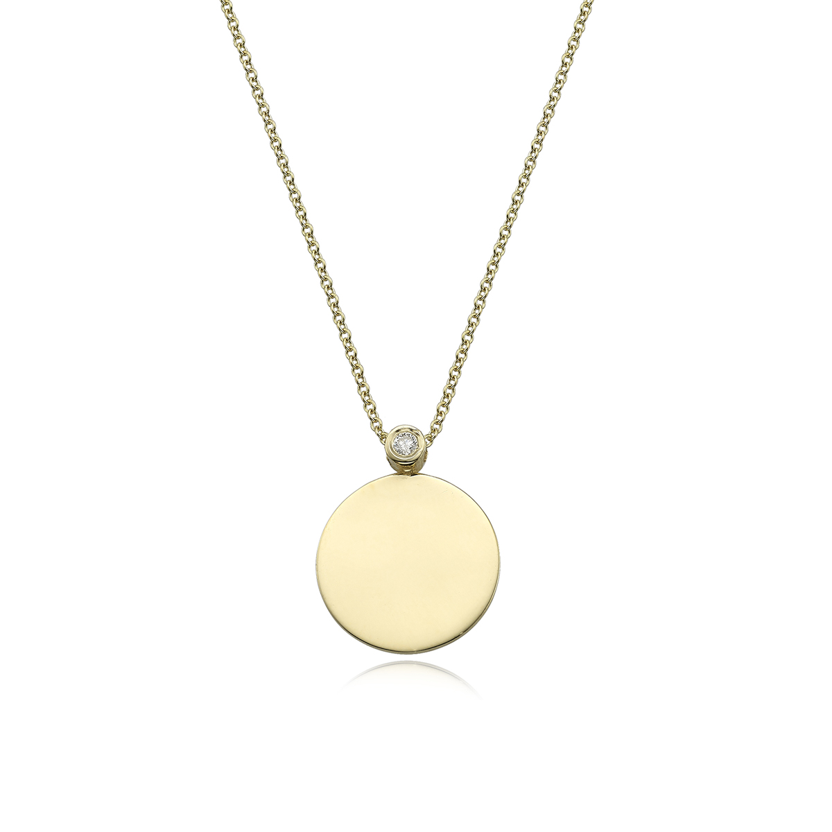 Circle gold name and diamond necklace