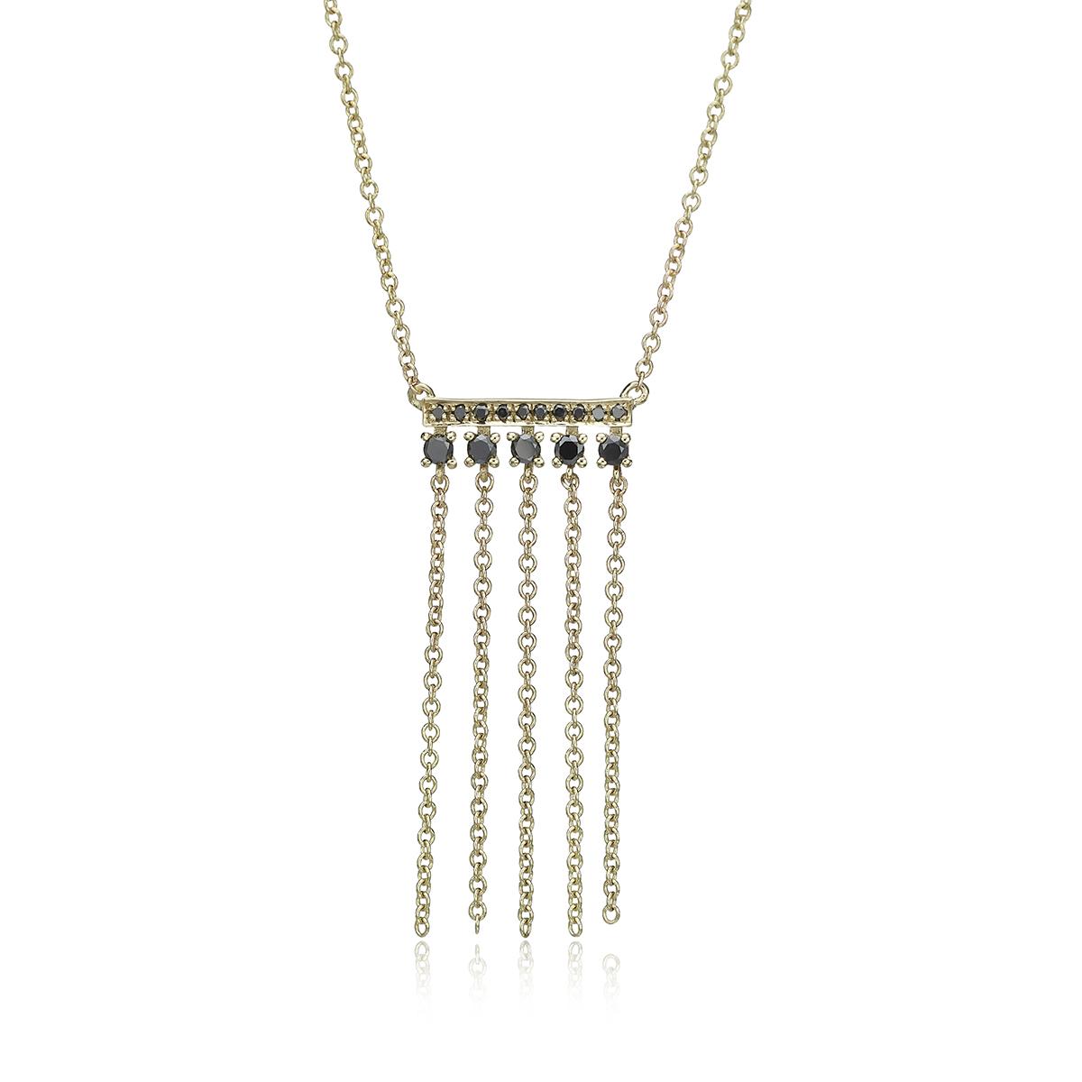 Unique Black Diamond Bar Necklace