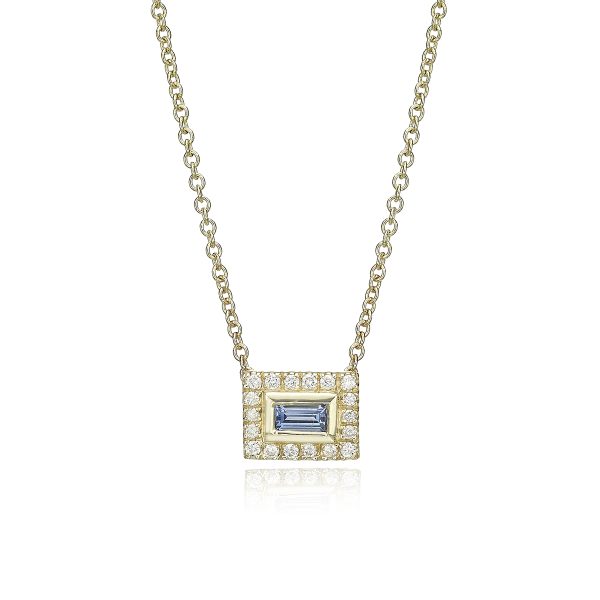Baguette Sapphire And Diamonds Necklace