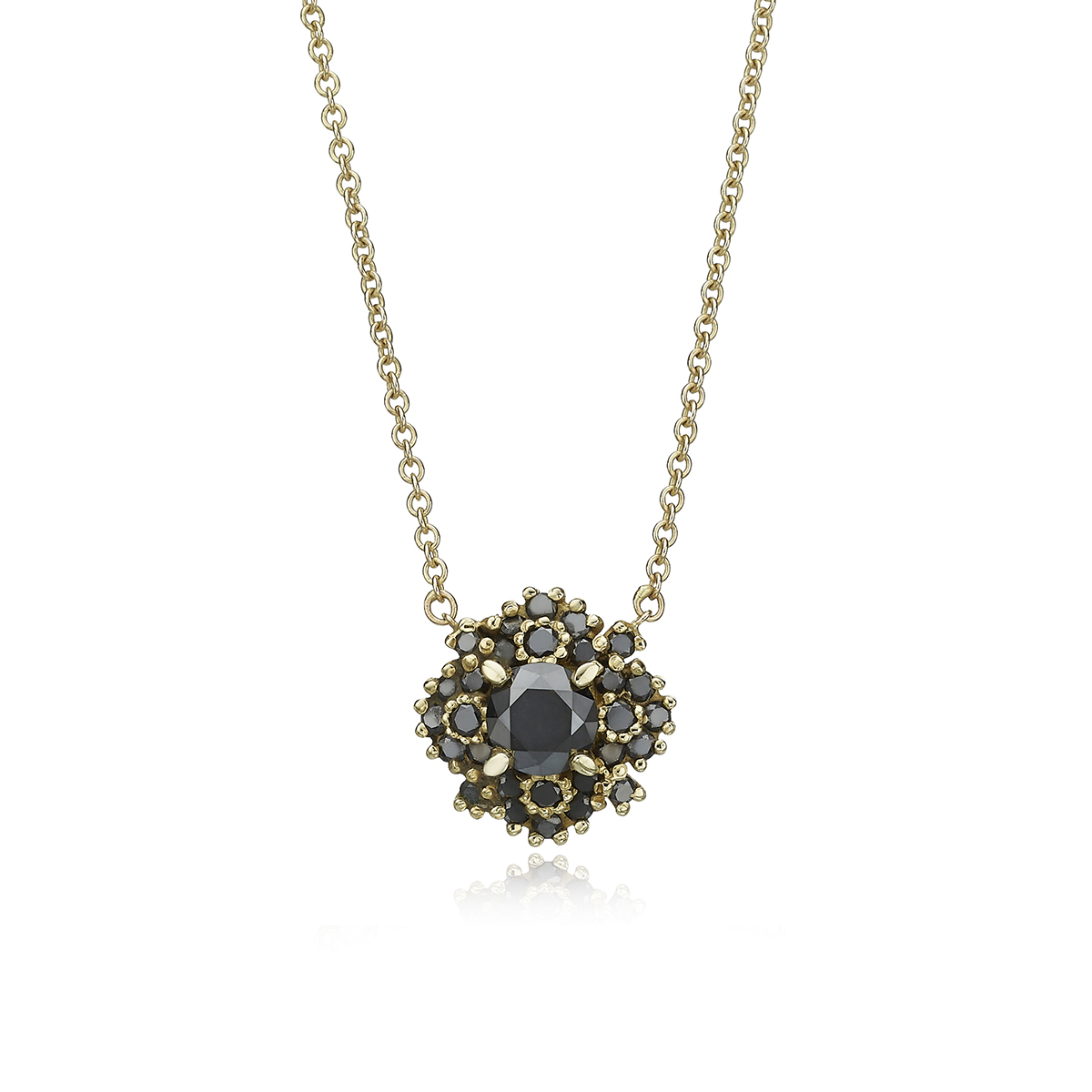 Impressive Black Diamond Gold Necklace