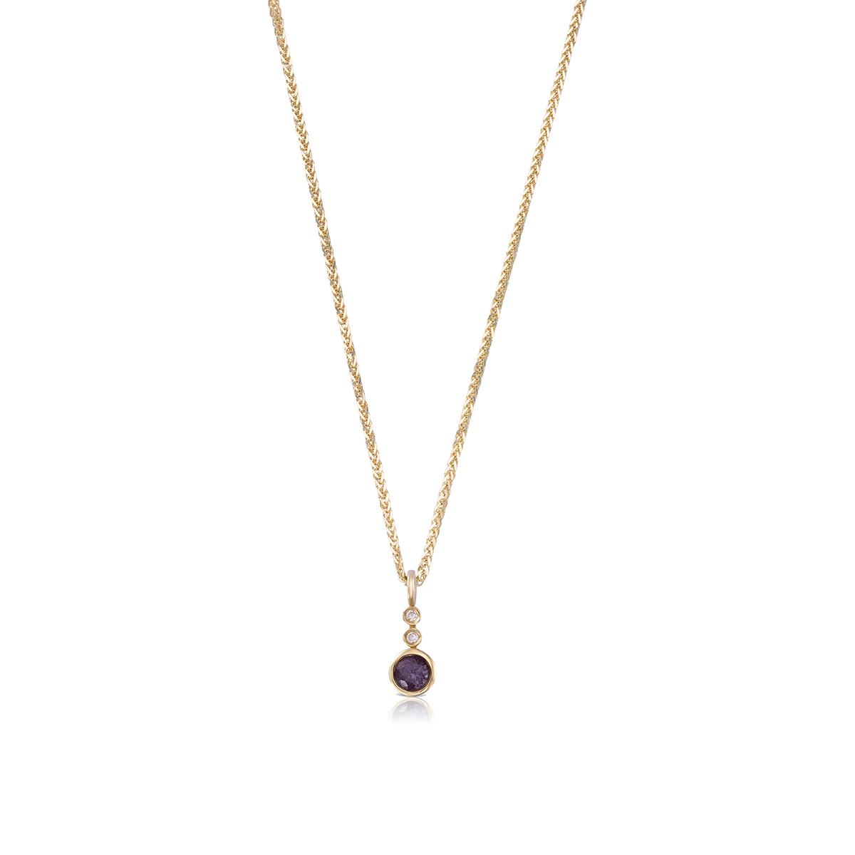 Gold Necklace With Spinel And Diamonds